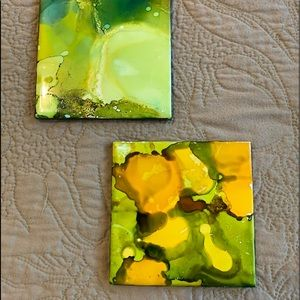 2 NEW Coasters. Ceramic with porcelain tile.